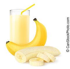 Banana shake - Fresh banana shake isolated on white