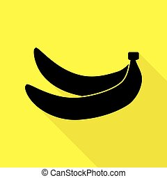 Banana simple sign. Black icon with flat style shadow path on yellow background.