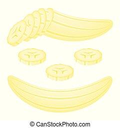 Banana slices isolated on white