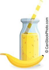 Banana smoothie bottle icon, cartoon style
