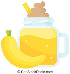 Banana smoothie con, Beverage flat vector illustration