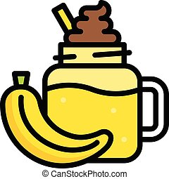 Banana smoothie icon, Beverage filled vector illustration - ...