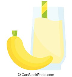 Banana smoothie icon, Beverage flat vector illustration