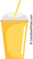 Banana smoothie icon, flat style