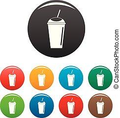 Banana smoothie icons set color