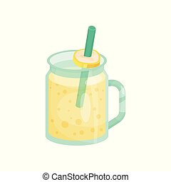Banana smoothie in a glass jar with straw cartoon vector Illustration