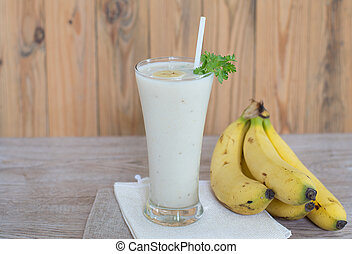 Banana smoothie in glass for healthy breakfast