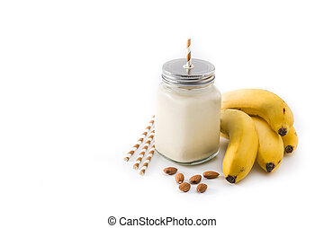 Banana smoothie in jar isolated on white background
