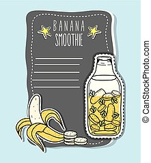 Banana smoothie juice with blank note paper cartoon vector ...