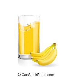 Banana smoothie or banana juice glass realistic