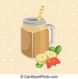Banana smoothie vector. Fresh drink retro style background