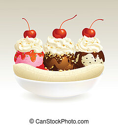 Banana Split ice cream, EPS10, This illustration contains transparency.
