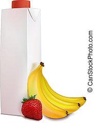 Banana, strawberry, juice in carton - Few yellow bananas and...