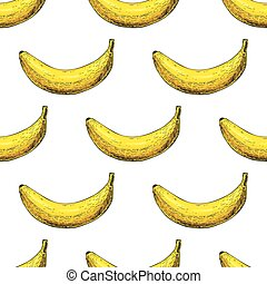 Banana vector seamless pattern. Isolated hand drawn object on wh