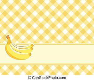 bananas., a cuadros, vector., manteles, fondo amarillo