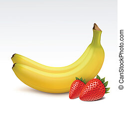 Bananas and strawberries - Bananas and fresh strawberries...
