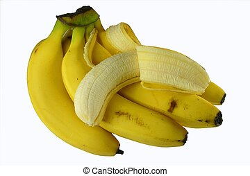 Bunch of bananas with one peeled, isolated against white background