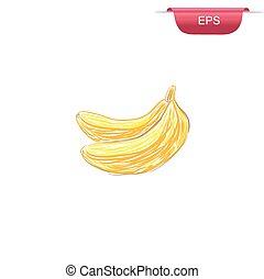 bananas, design element, sketch