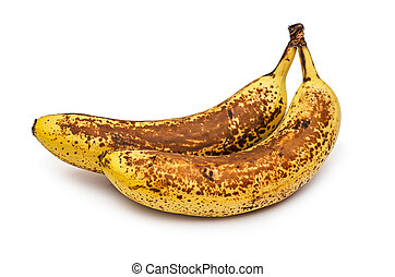 Overripe two bananas. Banana expired. Isolated on white background.