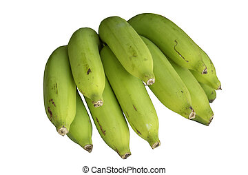 Bananas from the garden on a white background.