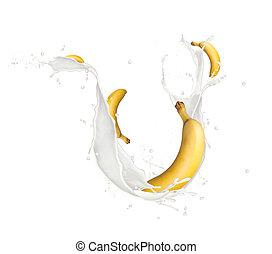 Bananas in milk splash, isolated on white background
