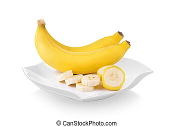 bananas in plate (beautiful shape) on white background