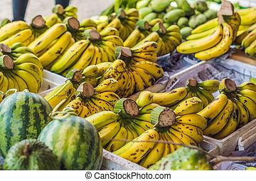Bananas in the Vietnamese market. Asian cuisine concept.