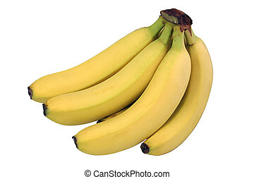Bananas Isolated - A bunch of perfect yellow bananas ...