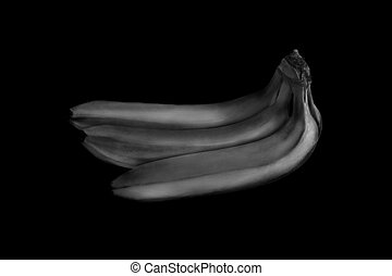 Bananas on a black background. Black and white photo