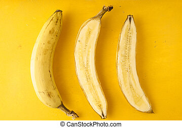 Bananas on a yellow background