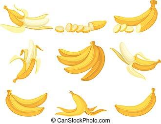 bananas., sätta, illustration, bakgrund., vektor, vit