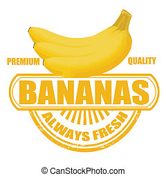 Bananas stamp - Grunge rubber stamp with bananas and the...
