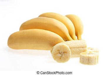 Bananas with peeled and chopped one isolated on white Fruit