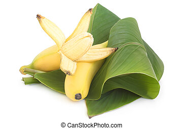 Bananas with green leaves