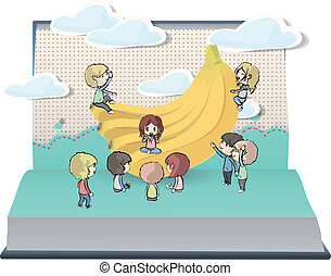 Bananas with many kids on book.