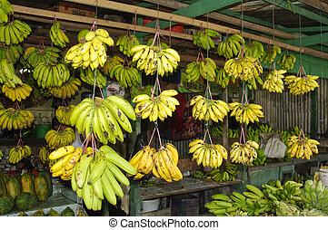 banane, dans, les, marché