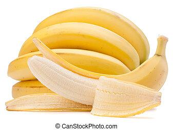 banane, isolato, fondo, disinserimento, bianco, mazzo