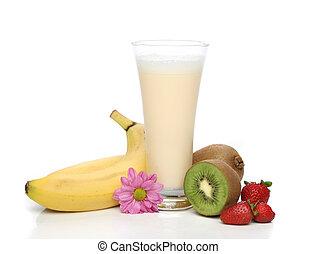 banane, milk-shake, à, fruit, composition
