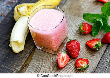 banane, -, smoothie fraise, dans, verre, (healthy, végétarien, drink)