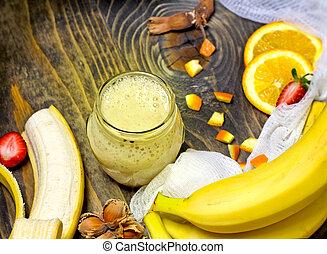 banane, smoothie, -, sain, rafraîchissant, boisson