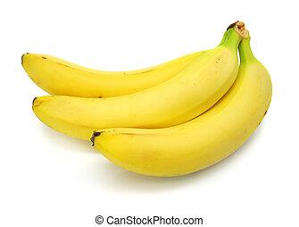banane, weißes, freigestellt, hintergrund, früchte