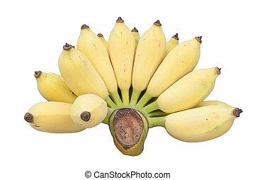 bananen, freigestellt, auf, a, weißer hintergrund