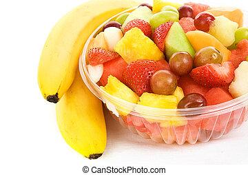 bananen, slaatje, fruit