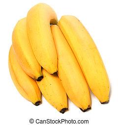 bananen, vrijstaand, op wit, achtergrond