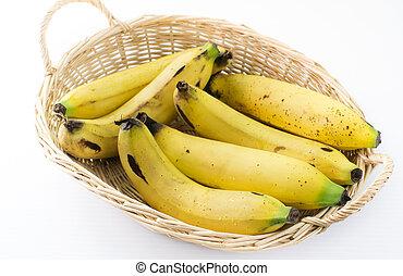bananes, dans, les, panier, blanc, fond