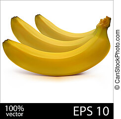 bananes, fournée, trois