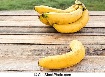 bananes, frais, table, bois