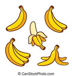bananes, illustration, ensemble, dessin animé