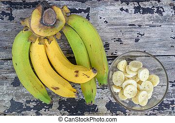 bananes, tasse, bois, vendange, coupé, table verre, banch, banane