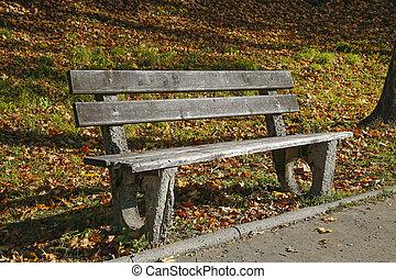 banc, bois, parc, automne